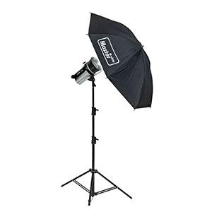 Certo 400 mit Schirmreflektor Schirm und Lampenstativ